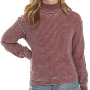 Junior's Waffle Knit Mock Neck Crop Top